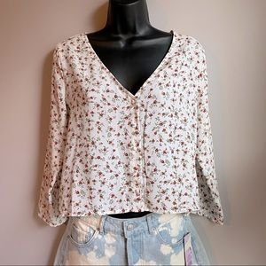 Rose Cropped Blouse with Covered Buttons, Size M